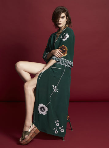 ROSETTA LONG SILK EMERALD ROBE