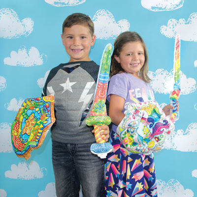 3D COLORABLES - UNICORN SHIELD AND SWORD COLORING TOYS