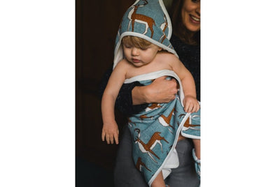 Milkbarn Organic Hooded Towel Blue Buck