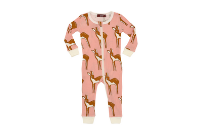 Milkbarn Organic Zipper Pajamas Rose Doe