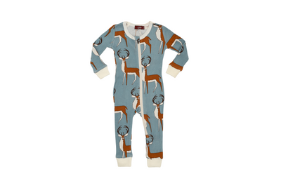 Milkbarn Organic Zipper Pajamas Blue Buck