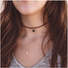 Moon Charm Double Chain Faux Suede Choker