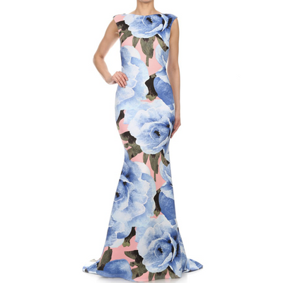 Floral Neoprene Evening Gown - Blue