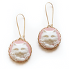 Cat Cameo Earrings in Pink