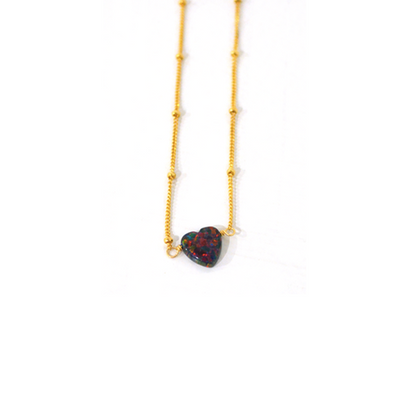 Dark Opal Heart Anklet