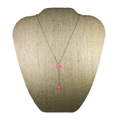 Hot Pink Heart Lariat Necklace