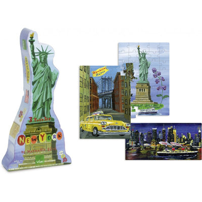 New York 3 Wooden Puzzles By Nathalie Lete
