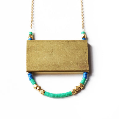 Rectangle U Necklace in Green