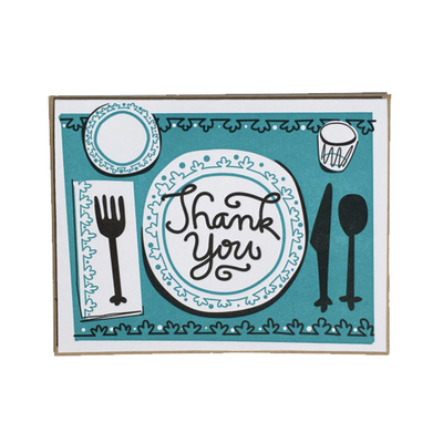 Thank You Hostess Table Setting Letterpress Card