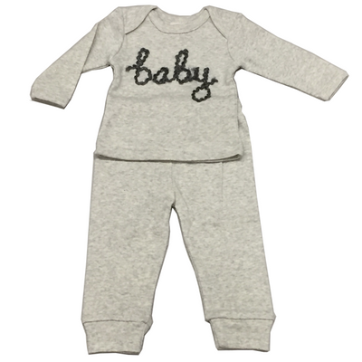 """Baby"" Yarn Two Piece Set -Cream/Asphalt"