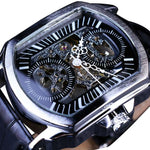 Retro Classic White Dial Blue Hands Transparent Automatic Skeleton Men Wristwatch