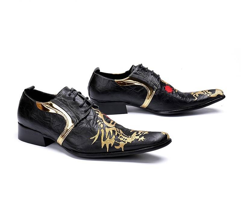 Fancy Black with Gold Painting Lace Up Details Men Dress Shoes