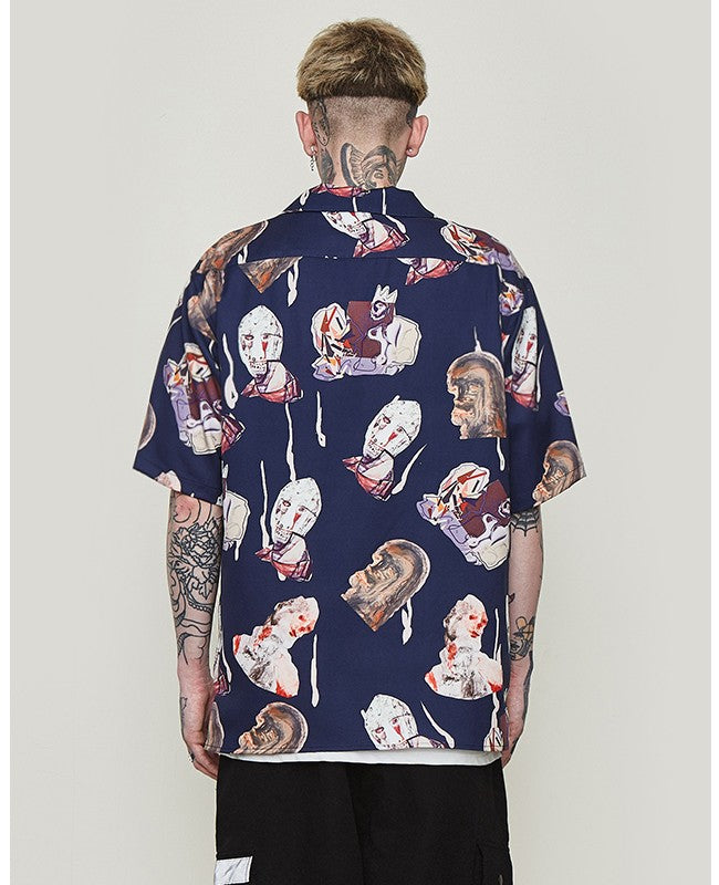 Navy Character Print in Hawaiian Loose Style Men Short Sleeves Shirt