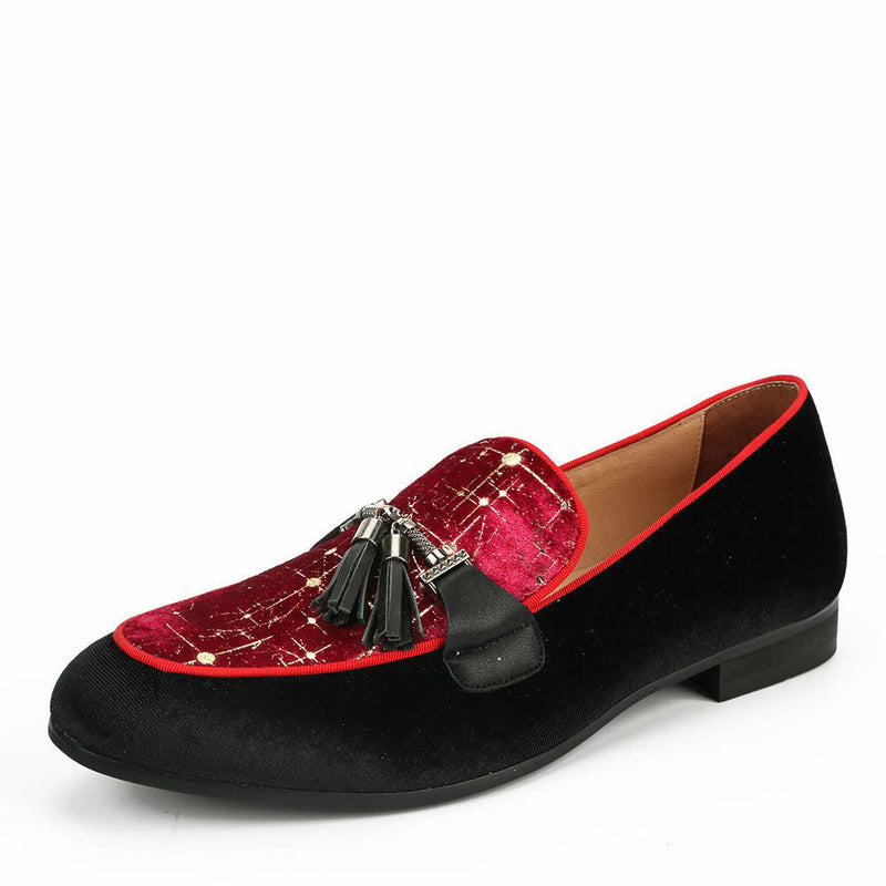 Velvet Black and Red Match with Tassel Men Dress Shoes