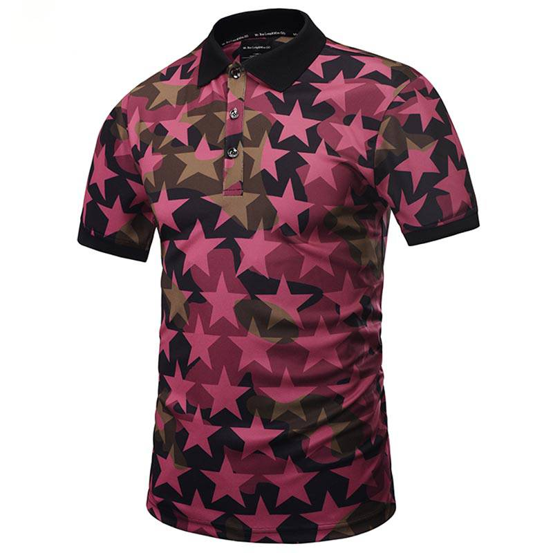 Stars Full Print Short Sleeves Style Men Polo Shirt