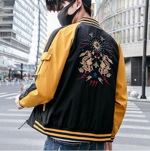 5504ad082 Chinese Dragon Embroidery Hip Hop Style Men Jacket – FanFreakz