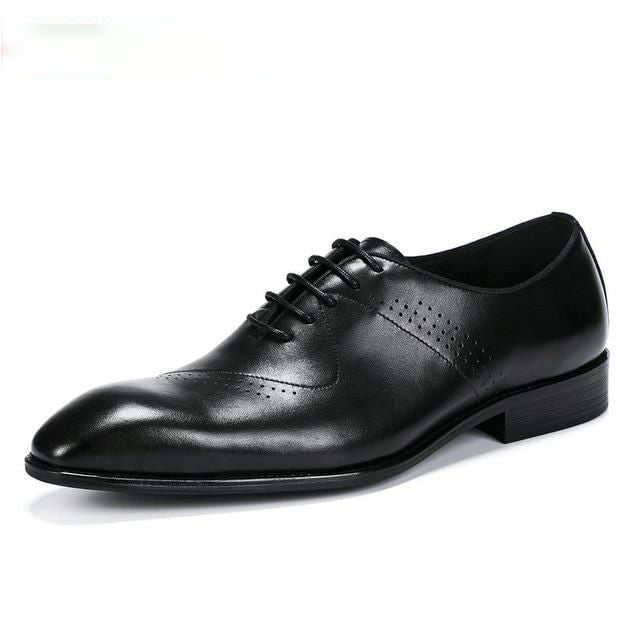 Elegant Pointed Toe Men Leather Business Oxford Shoes - FanFreakz