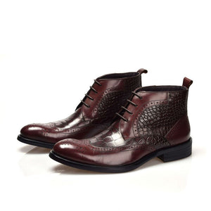Fashionable Crocodile Side Pattern Men Derby Ankle Boots