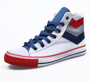 Mixed Colours Canvas High Top Flat School Casual Style Men Sneaker