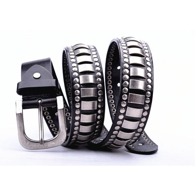 Metal Layer Dominant Punk Style Men Leather Belt