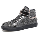 Black Silver PU Leather Rivets Men High Top Fashion Shoes
