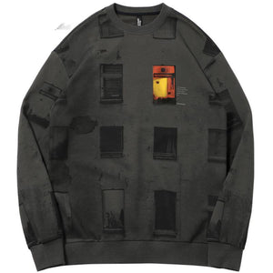 Pullover O Neck Plaid Window Printed Men Sweatshirt