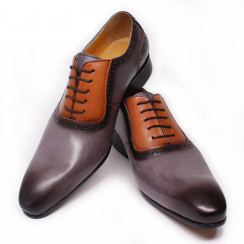 Gray Hand Polished Pointed Two Double Colors Men Oxford Shoes