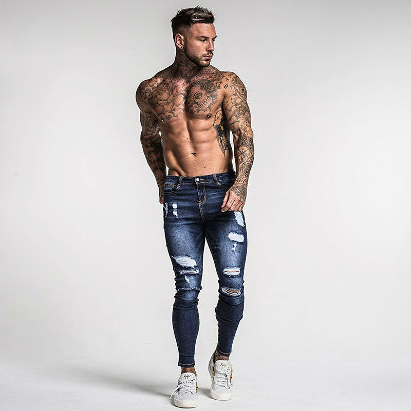 Dark Blue Ripped Style Men Pencil Stretch Jeans - FanFreakz