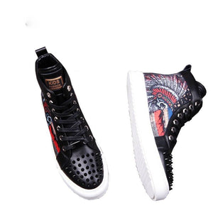 Camouflage Printing Skull Rivets Toe Punk Style Men Sneaker