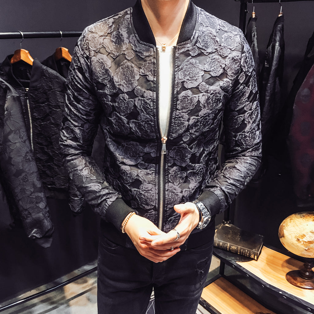 Jacquard Floral Men Slim fit Bomber Jackets - FanFreakz