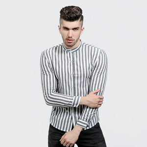 Classic Red Striped Mandarin Collar Men Slim Fit Long Sleeves Shirt - FanFreakz