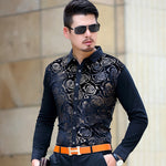 Dark Gold Floral Velvet Men Long Sleeves Shirt - FanFreakz