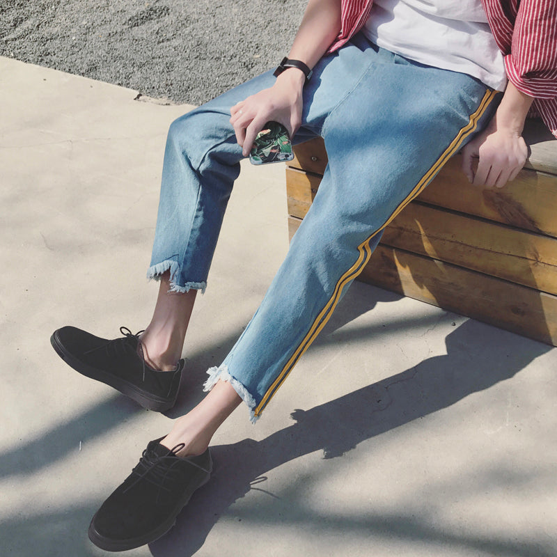 Torn Edge with Side Stripe Men Ankle Length Loose Jeans