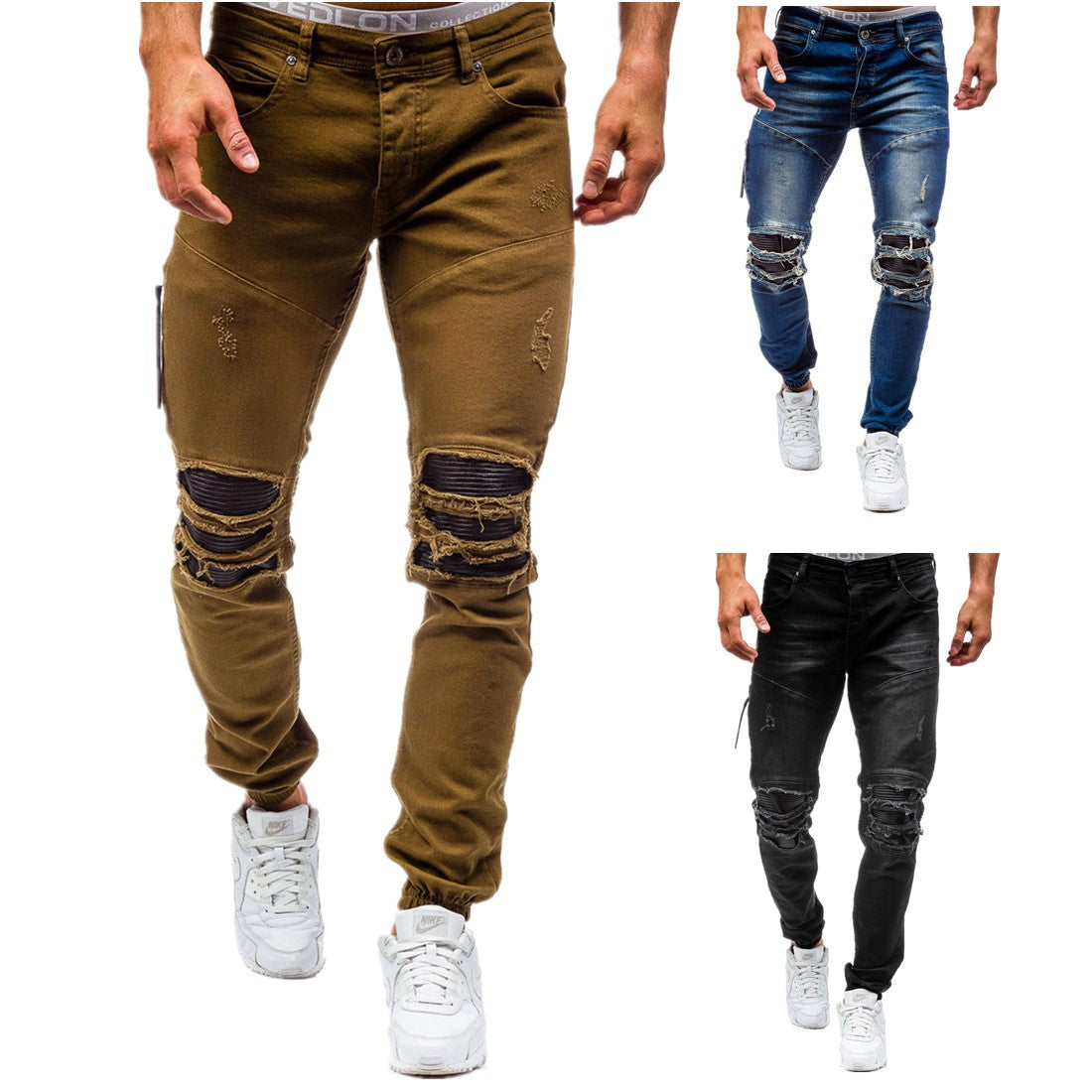 034bec24 Ripped Knee Cool Damaged Biker Style Men Slim Fit Jogger Pants Jeans -  FanFreakz
