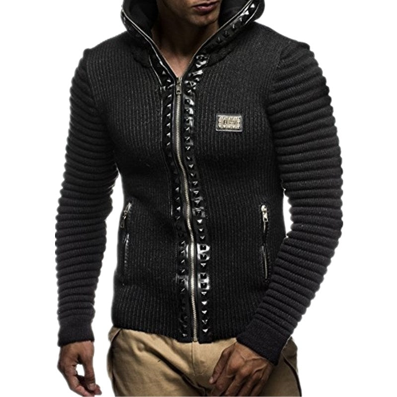 Rivets Zipper Lining Hoody Cardigan  Men Jacket