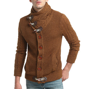 Horn Buttons High Neck Men Long Sleeves Knit Sweater