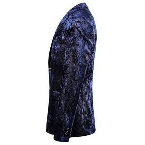 Royal Navy Blue Luxury Men Slim Fit Velvet Blazer