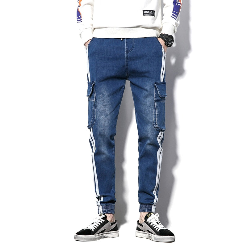 Double Stripe Leg with Pocket Men Slim Jeans - FanFreakz