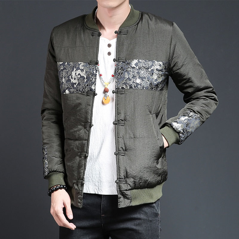 a319e2291 Oriental Style with Chinese Knot and Patchwork Men Bomber Jacket ...