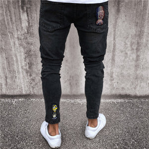 Knee and Calf Embroidery Patchwork Detail Men Black Skinny Jeans