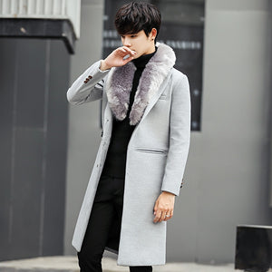 Woolen Fur Collar Men Slim Long Coat Warm Outwear