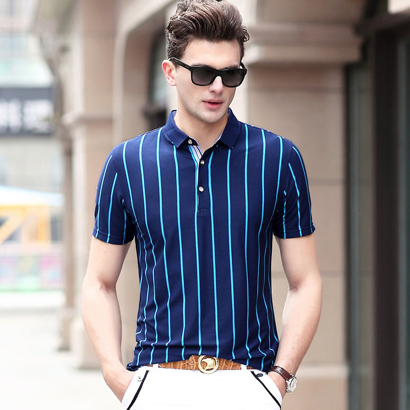 Striped 3 Buttons Men Short Sleeves Slim Fit Polo Shirt - FanFreakz