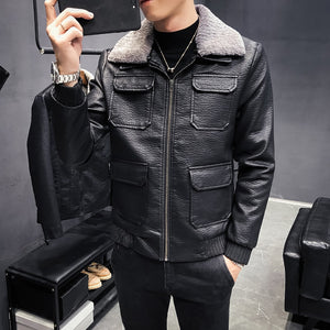 Multi Pocket Harsh Patterned Men Black Faux Leather Jacket