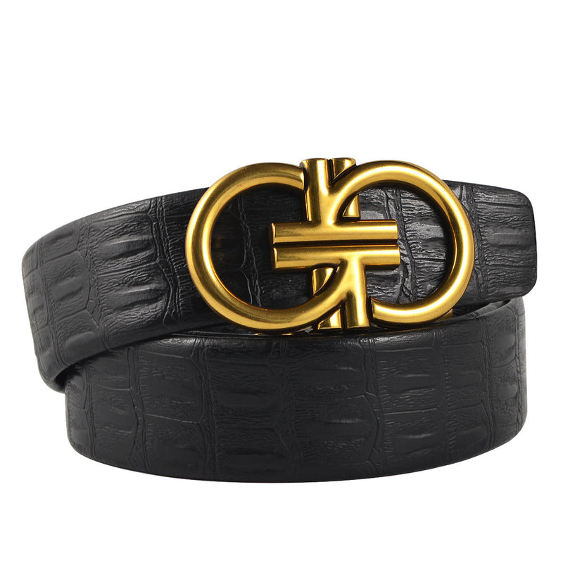 Double G Buckle Men PU Leather Belt - FanFreakz