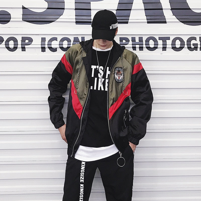 Youth Casual Color Patchwork Design Men Hooded Jacket