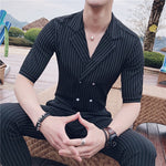 Double Breasted Korean Style Short Sleeves Men Suits with Pants - FanFreakz
