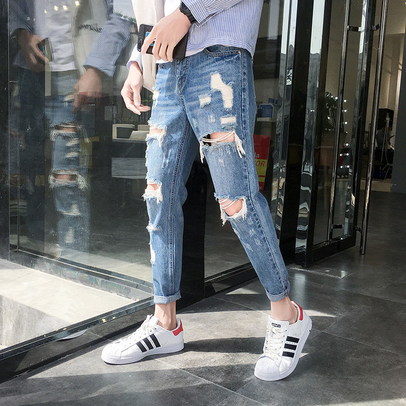 Big Hole Torn Ripped Trendy Men Low Waist Slim Jeans
