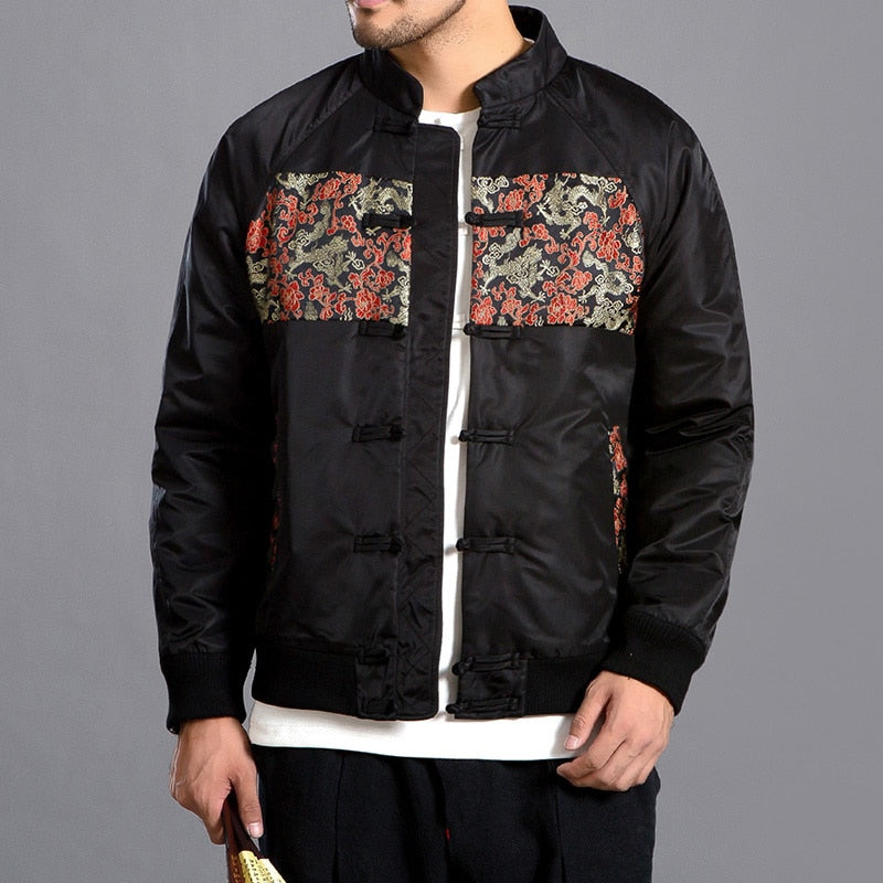 New Mandarin Embroidered Pattern with Chinese Button Men Jacket