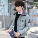 Elegant Wool Collar Two Side Pockets Casual Style Men Winter Jacket - FanFreakz