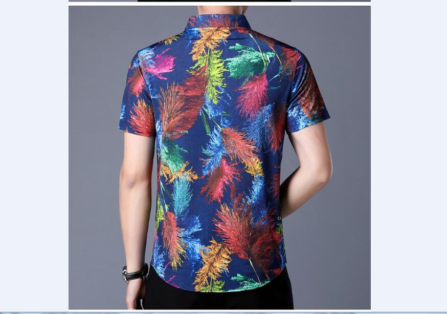 Colorful Abstract Print Men Short Sleeves Slim Fit Shirt - FanFreakz